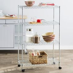 48'' H x 30'' W x 14'' D Add much-needed storage space to your kitchen with this sleek shelving unit, featuring 4 tiers and a castered base. Top it with appliances and dry ingredients to keep baking essentials on hand, or add wicker baskets to stow fresh produce in farmer's market-inspired style.