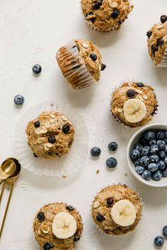 Blueberry Banana Protein Muffins that are wholesome, pack a punch with added protein, and that make your busy mornings a little bit easier! If you're tired of that same 'ol breakfast routine, then you must try these healthy protein muffins. Delicious blueberry and banana flavors, plant-based protein, and no added sugar. These Blueberry Banana Protein Muffins are perfect for the entire family and can be made in no time! Healthy Muffin Recipes, Healthy Muffins, Healthy Snacks, Healthy Breakfasts, Flax Egg Recipe, Blueberry Protein Muffins, Lemon Recipes, Sweets Recipes, Brunch Recipes