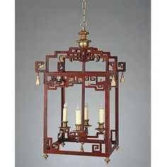 LAST ONE  HALF PRICE  Ships in 48 Hours  Red oriental style 4 light lantern.