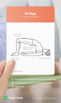 HOW TO: Bridge yoga position – visual workout sequence pose and benefits guide for beginners from the YOGA CARDS deck by WorkoutLabs: http://WLshop.co