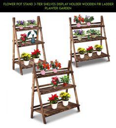 Flower Pot Stand 3-Tier Shelves Display Holder Wooden Fir Ladder Planter Garden #3 #fpv #planter #tech #gadgets #shopping #tier #products #plans #technology #racing #gardening #drone #parts #kit #camera