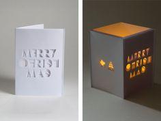 Christmas card paper lantern  paper cut typographic by papierdier, $19.50