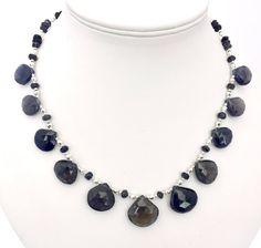 Iolite Teardrop Beaded Gemstone Necklace, Smokey Purple Semi Precious Jewellery, Natural Stone, Water Sapphire, Sagittarius Birthstone, by PreciousHCJewellery on Etsy