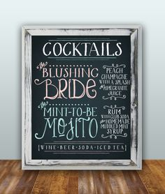 So cute!  I love custom drinks :) This chalk-board style drink sign is ultra mod from Etsy.