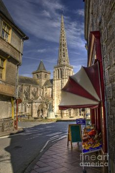 ✮ Town center of Treguier with it's imposing church in the Cotes d'Armor in Brittany France