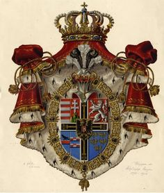 New Coat of Arms of Archduke Eugen of Austria-Teschen Grand Master of the Teutonic Order. Archduke, French Royalty, Holy Roman Empire, Eastern Star, Medieval Life, Chivalry, Crests, Transfer Paper, Illuminated Manuscript
