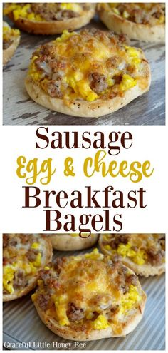 Try these super delicious Sausage, Egg and Cheese Breakfast Bagels for a quick, protein packed breakfast that everyone is sure to love! food recipes Sausage, Egg and Cheese Breakfast Bagels Breakfast And Brunch, Protein Packed Breakfast, Breakfast Dishes, Healthy Breakfast Recipes, Brunch Recipes, Breakfast Casserole, Yummy Breakfast Ideas, Breakfast Dessert, Bagel Breakfast Sandwich