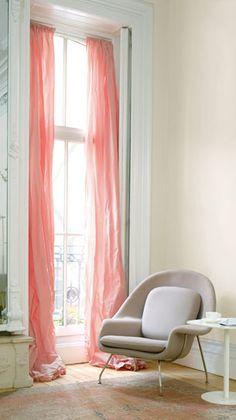 Draperies on a tall narrow window - pink