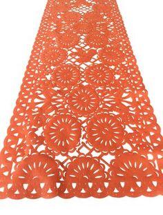 Mexican fabric Table Runner Papel Picado design Orange