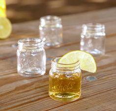 Mason jar shot glasses? Obsessed.