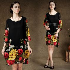 Women Summer Dress 2014 Casual Chiffon Black Pint Vestidos Plus Size Women Clothing XXXL XXL Women's Vestido With Belt-in Dresses from Apparel & Accessories on Aliexpress.com | Alibaba Group