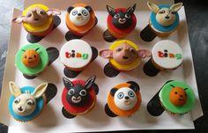 Bing cupcakes x 1st Birthday Parties, 3rd Birthday, Birthday Cakes, Bing Cake, Cupcake Toppers, Cupcake Cakes, Bing Bunny, Bunny Cupcakes, Rabbit Cake