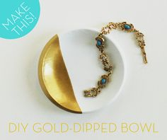 Make a DIY Gold Paint-Dipped, Faux-Porcelain Bowl
