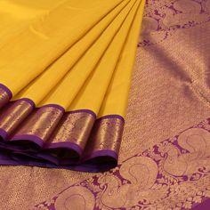 Handwoven Yellow Korvai Kanchipuram Silk Saree With Hamsa Border 10012953