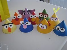 DIY sesame street party hats  Adorable Sesame Street Party!