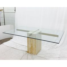 Image of Ello Italian Travertine Marble & Brass Glass Top Pedestal Table