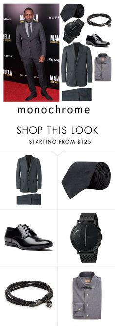 """Monochrome menswear"" by menstyletoday on Polyvore featuring Ermenegildo Zegna, Turnbull & Asser, Versace, Skagen, Jan Leslie, Gitman Bros., modern, men's fashion, menswear and monochrome"