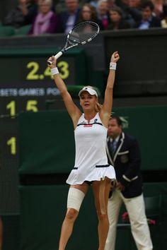 Aga Radwanska realizing she has made the Semi's of Wimbledon 2013 after beating Li Na