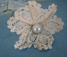 Cathie and Steve: Pearl and Doily Flowers made with Mod Podge.