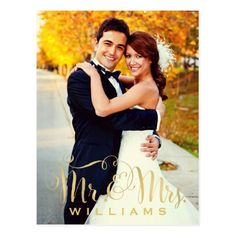 Wedding Photo Note Cards | Gold Mr. & Mrs. Script