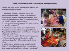 Curriculum in Room 4 Painting and its Many Lessons Eylf Learning Outcomes, Assessment For Learning, Learning Stories Examples, Preschool Curriculum, Preschool Art, Teachers Corner, Emotional Development, Learning Through Play, Early Childhood Education