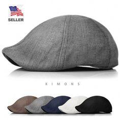 ec2580b80a1 Duckbill Linen Newsboy Cotton Gatsby Cap Mens Ivy Hat Golf Summer Sun Flat  in Clothing