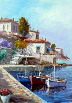 Landscape Drawings, Watercolor Landscape, Landscape Paintings, Watercolor Paintings, Sailboat Art, Sea Art, Seascape Paintings, Beautiful Paintings, Art Pictures