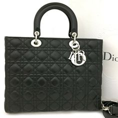 New Christian Dior Cannage Lady Lambskin Large Hand Bag w Shoulder Strap   c528   ac69ede0aa3cf
