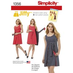 Simplicity Pattern 1356 Misses Vintage Jiffy Reversible Wrap Dress. misses' vintage 1970's jiffy® dress has three main pattern pieces for easy construction. easy tie dress is also reversible. no zipper. no buttons. no snaps. it just wraps!
