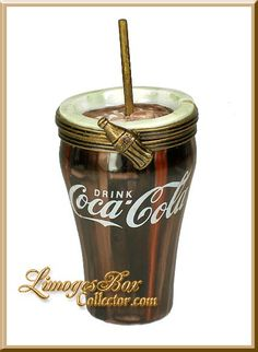 Coca Cola Glass with Straw Limoges Box - ULTRA RARE