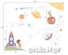 Esta etiqueta extraíble está hecha a mano usando vinilo mate de alta calidad. Añadir tu toque personal a cualquier espacio, cambiar temas en la habitación del niño. Fácil sólo cáscara y del palillo! Prueba gratis la etiqueta se incluye.   ~ LO QUE HA INCLUIDO ~ * Estrellas * Naves espaciales * Astronauta, extranjeros * Planetas * Asteroides  ~ ELEGIR SU COLOR ~ Por favor consulte la carta de color para cambiar hasta 2 colores de este diseño…