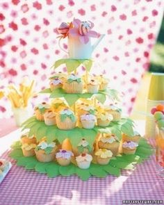 Bake both regular and miniature versions of these cupcakes to capture the variations of flowers found in nature. To display the cupcakes, decorate cake stand tiers with crepe paper leaves and top with a watering can full of treats. Spring Cupcakes, Easter Cupcakes, Flower Cupcakes, Cupcake Party, Birthday Cupcakes, Cupcake Cakes, Garden Cupcakes, Petal Cupcakes, Yellow Cupcakes
