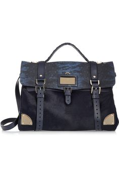Mulberry | Lizard-print leather and calf hair shoulder bag | NET-A-PORTER.COM