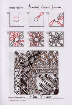 Zentangle. Обучение. Lots of good step-by-step patterns: