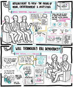 "David Bonderman, Mark Britt & Rick Hess – ""Appointment to view – the future of media, entertainment & investing""   Ann Mettler & Ryan Heath – ""Will technology kill democracy?"" * by LiveSketching"