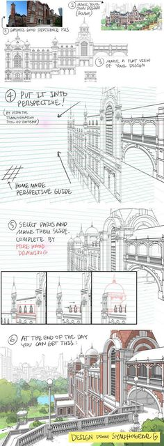 How to Draw Detailed Buildings - by Thomas Romain - perspective Drawing Lessons, Drawing Techniques, Drawing Tips, Drawing Reference, Poses References, Perspective Drawing, Photoshop, Art Graphique, Urban Sketching