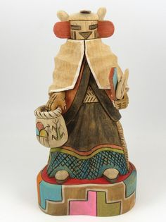 """Snow Maiden (Navak'china) Kachina Hand Carved from Cottonwood Root and Beautifully Hand Painted. 6.5"""" Doll Height, 8"""" Overall Height"""