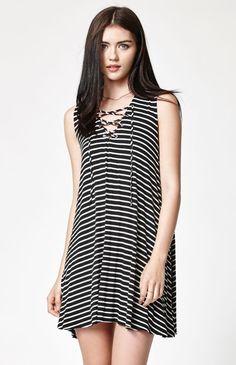 Stripe Lace-Up Swing Dress