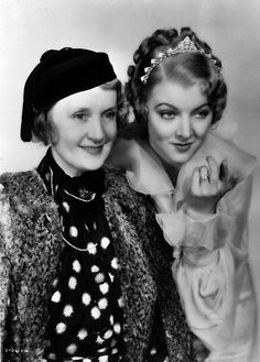 oldhollywood-glamour: Actress Myrna Loy, chosen to play the role of Billie Burke in 'The Great Ziegfeld', with the real life Billie Burke - actress and widow of the famous showman Florenz Ziegfeld. The biopic was directed by. Old Hollywood Movies, Golden Age Of Hollywood, Vintage Hollywood, Hollywood Stars, Classic Hollywood, Hollywood Actresses, Hollywood Icons, Hollywood Celebrities, Hollywood Glamour