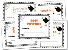Halloween Costume Award Certificates, Halloween Printables | Printable Party Games