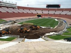 They are bringing in the dirt for the track in the LA Coliseum for Saturday night!!