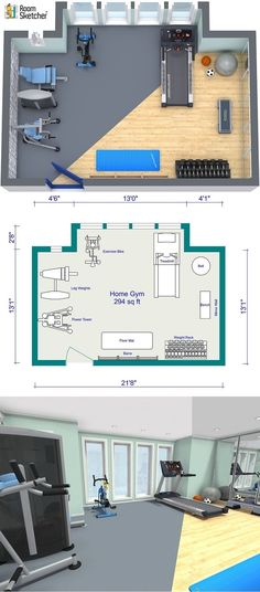 Planning to add a small gym at home or as part of an design project for an office or hotel? The best way to start is with a floor plan. Using RoomSketcher Home Designer, you can draw a floor plan of your room, layout the equipment, design and decorate the walls, and see it in 3D. Check it out