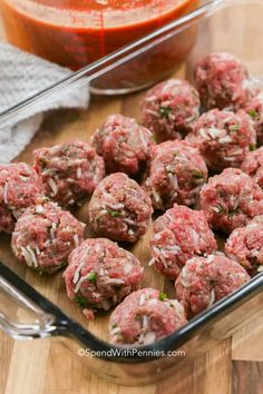 Porcupine Meatballs {Soft, Tender & Juicy} - Spend With Pennies Porcupine Meatballs are made with ground beef, rice, onion and seasonings then baked in a rich tomato sauce. So zesty and delicious, and ready in only an hour! Ground Beef Meatballs, Meatballs And Rice, Tasty Meatballs, Ground Beef Rice, Beef And Rice, Ground Beef Recipes, Hamburger And Rice Recipes, Casserole Recipes, Meat Recipes