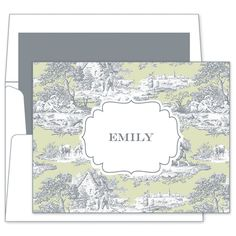 Gray and Celery Toile Foldover Note Cards