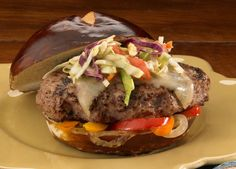 Pretzel and Honey Mustard Bratwurst Burger made with Johnsonville Brat Patties