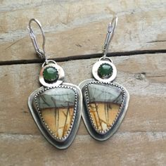 Jade and Jasper boho silver dangle earrings by metaldreamer