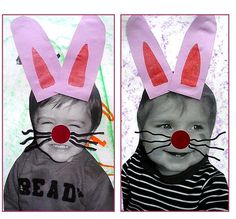 Sur une idée vue sur le net, de jolis portraits de lapins.... Easter Activities, Holiday Activities, Infant Activities, Hoppy Easter, Easter Bunny, Easter Arts And Crafts, Diy Ostern, Art N Craft, Preschool Art