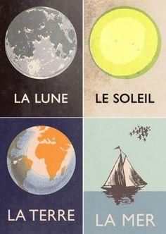 La lune, le soleil, la terre, la mer. The moon, the sun, the earth, the sea - learning French