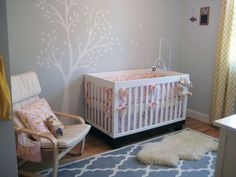 pink, yellow, and gray nursery