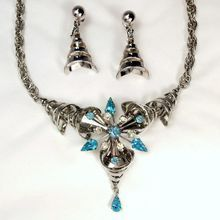 Vintage Atomic Blue Topaz Rhinestone Starburst Necklace and Earrings Set  Originals by Anthony